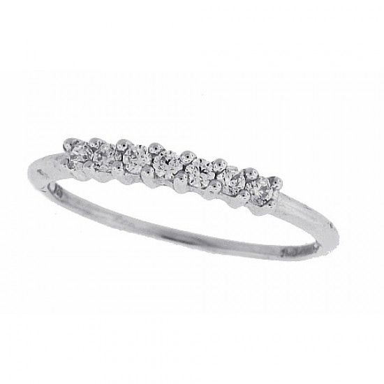 Cubic Zirconia Wedding Band Sterling Silver