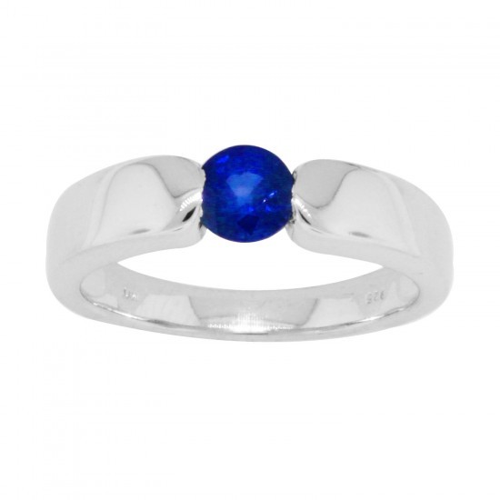 Blue Sapphire Solitaire Birthstone Ring in Sterling Silver