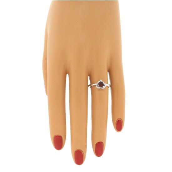 Genuine Garnet and Diamond Heart Ring 10Kt White Gold 0.67cttw