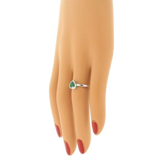 Genuine Emerald Diamond Heart Ring 10Kt White Gold