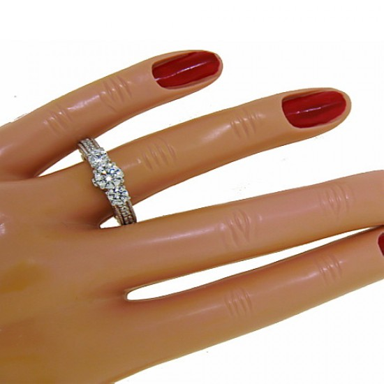 Three Stone Cubic Zirconia Engagement Ring Sterling Silver