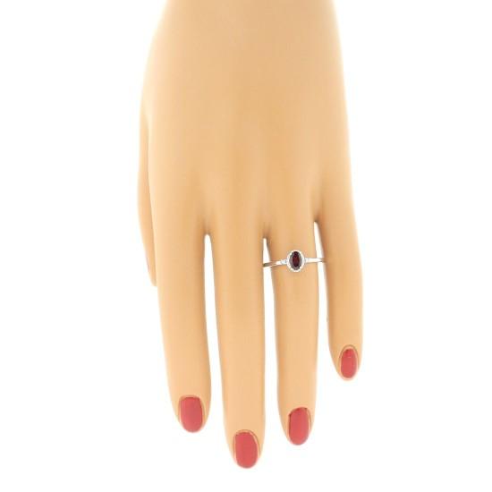 Three Stone Garnet and Diamond Ring 10Kt White Gold 0.40cttw