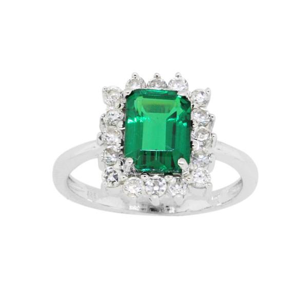 b9ddf0f15 Emerald Cut Created Emerald Cubic Zirconia Engagement Ring ...