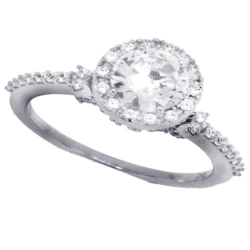 Cubic Zirconia Solitaire Halo Engagement Ring Sterling Silver