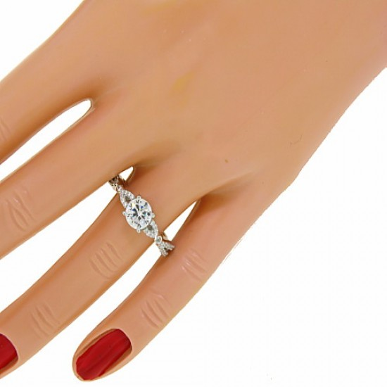 Cubic Zirconia Solitaire Engagement Ring Sterling Silver