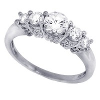 Cubic Zirconia Five Stone Diamond Wedding Ring Sterling Silver