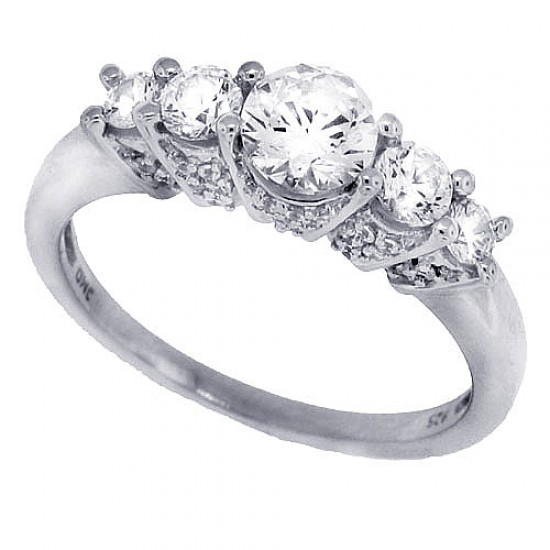 Cubic Zirconia Five Stone Diamond Engagement Ring Sterling Silver Rhodium Plated