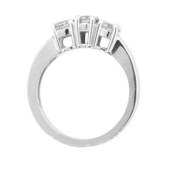 1 carat Three Stone Diamond Engagement Ring 14Kt White Gold