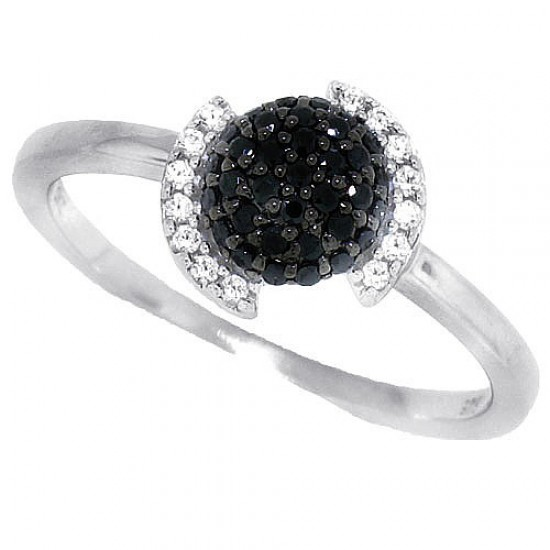 Cubic Zirconia Cluster Ring Sterling Silver Rhodium Plated Black and White Zirconia