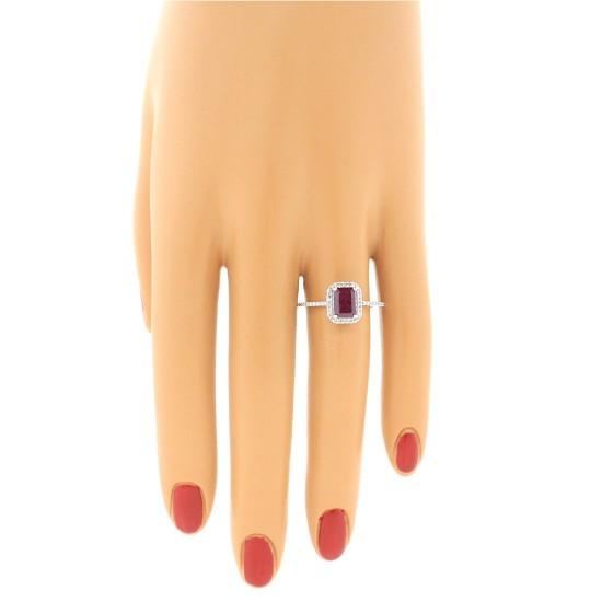 Emerald Cut Genuine Ruby Diamond Engagement Ring 14Kt White Gold