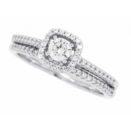 Cubic Zirconia Solitaire Halo Wedding Ring Set Sterling Silver