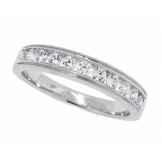 Cubic Zirconia Wedding Band Sterling Silver Milgrain