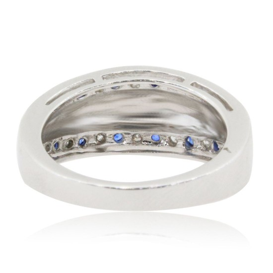 Genuine Sapphire Diamond Band 14Kt White Gold, Right Hand Band, Satin Finish, 1.55cttw
