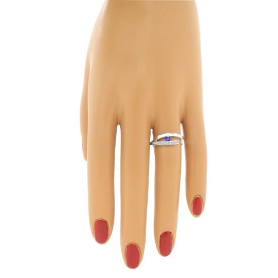 Genuine Sapphire Diamond Right Hand Ring 14Kt White Gold, 0.25cttw
