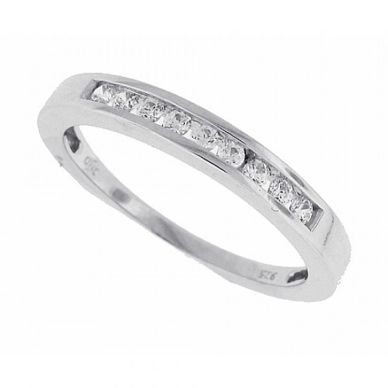 Cubic Zirconia Wedding Band Sterling Silver Channel Set 0.18ct
