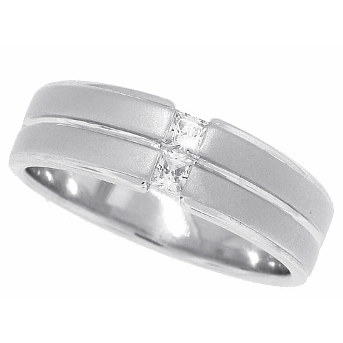 Cubic Zirconia Men's Wedding Band Sterling Silver