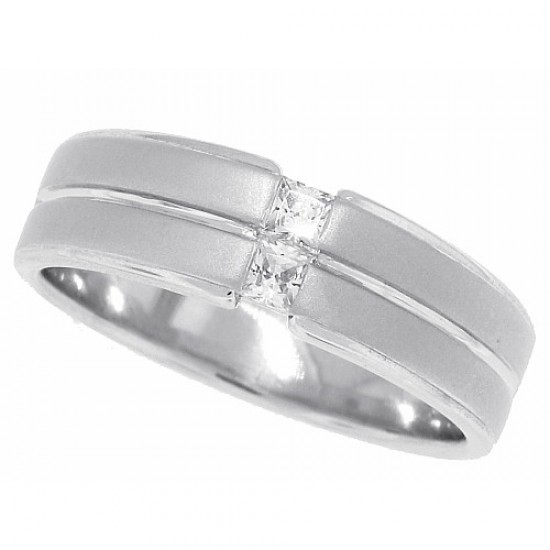 Cubic Zirconia Men's Wedding Band Sterling Silver Princess Cut