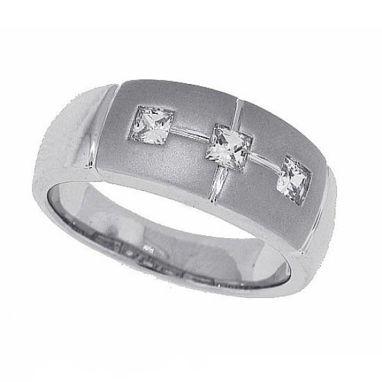 Cubic Zirconia Men's diamond Wedding Band Sterling Silver Three Stone 1/2ct