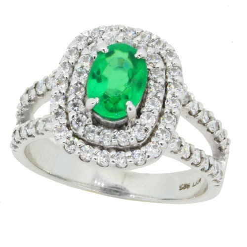 Lab Created Emerald and Swarovski Zirconia Engagement Ring in Sterling Silver