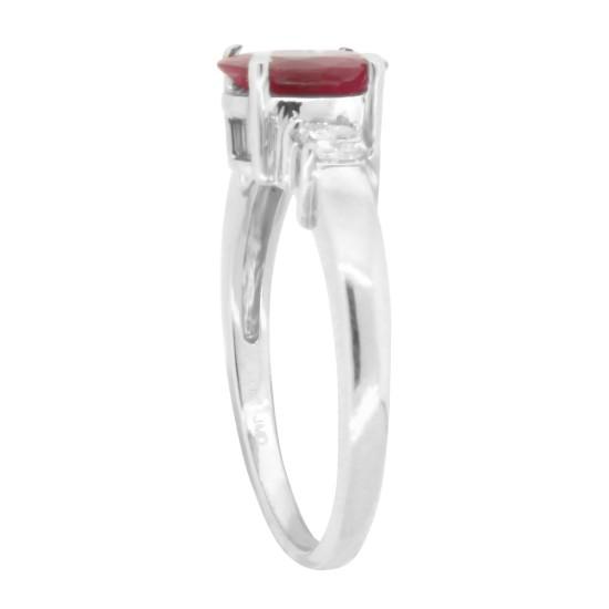 Ruby Diamond Three Stone Ring 14Kt Gold Princess Cut