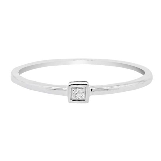 Princess Cut Diamond Promise Ring 10Kt White Gold Bezel Set  0.06cttw