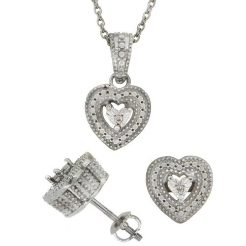 Genuine Diamond Pendant and Earrings Set, Sterling Silver