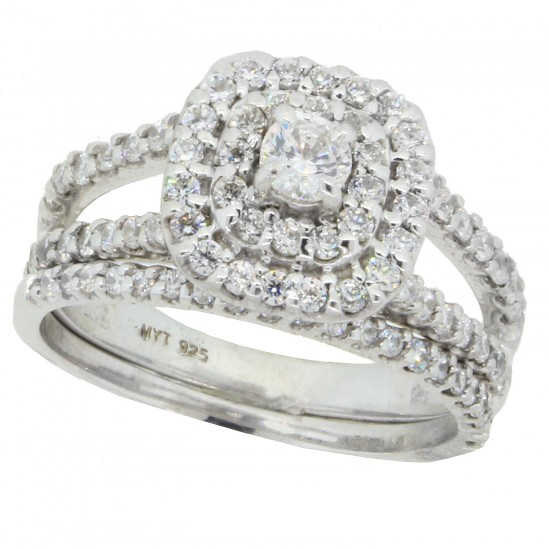 Diamond Wedding Set in Sterling Silver, with Swarovski Zirconia
