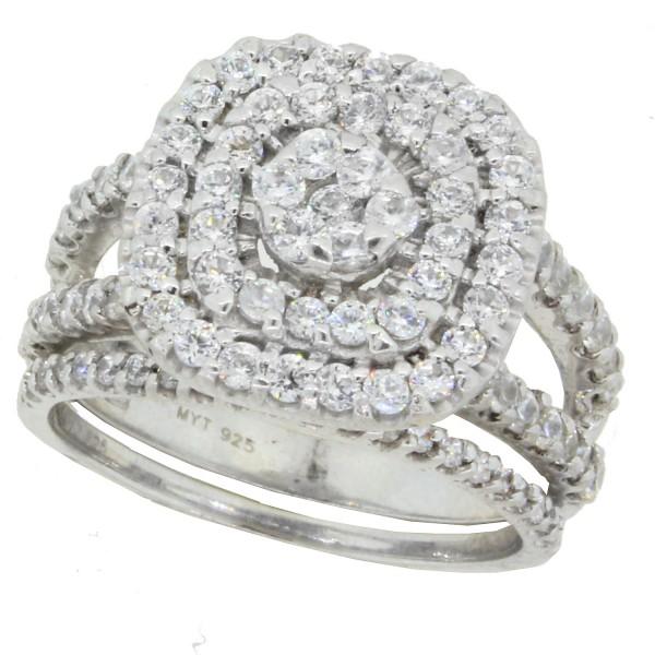 ed9694df4 Diamond Wedding Set, Sterling Silver, Made with Swarovski Zirconia