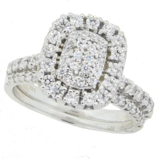 Cluster Diamond Wedding Ring Set in Sterling Silver, with Swarovski Zirconia