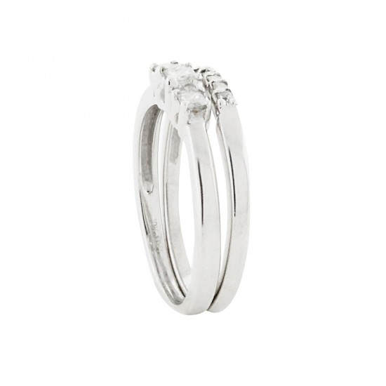 Three Stone Princess Cut Diamond Wedding Set 10kt Gold(0.30cttw)
