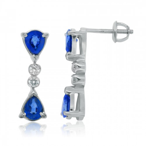 1.36 ct.t.w.Genuine Sapphire and Cubic Zirconia Earrings Sterling Silver