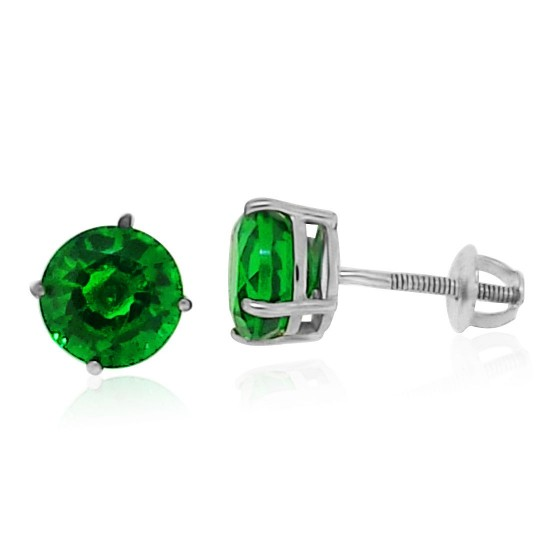 6MM Created Emerald Screwback Stud Earrings AAA Quality Sterling Silver