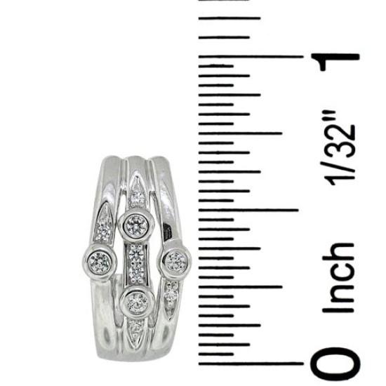 Cubic Zirconia J Hoop Earrings in Rhodium Finish Sterling Silver