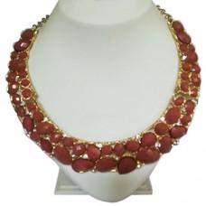 Fashion Golden Chain Style Dark Orange Resin Statement Necklace