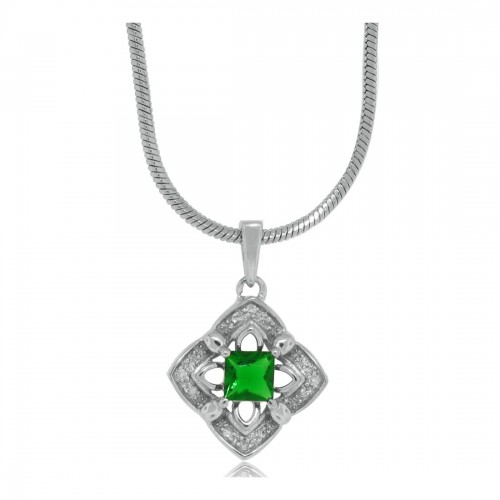0.56 ct.t.w.Created Emerald Diamond Pendant Sterling Silver