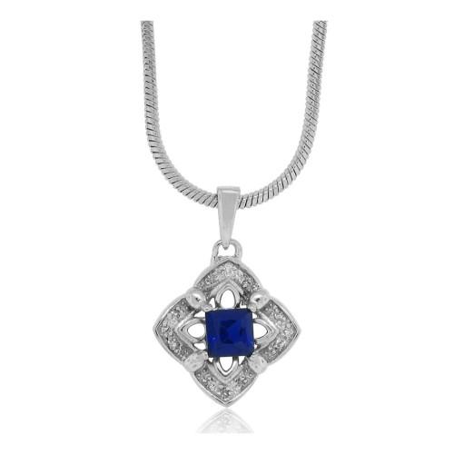 0.46 ct.t.w.Created Sapphire Diamond Pendant Sterling Silver