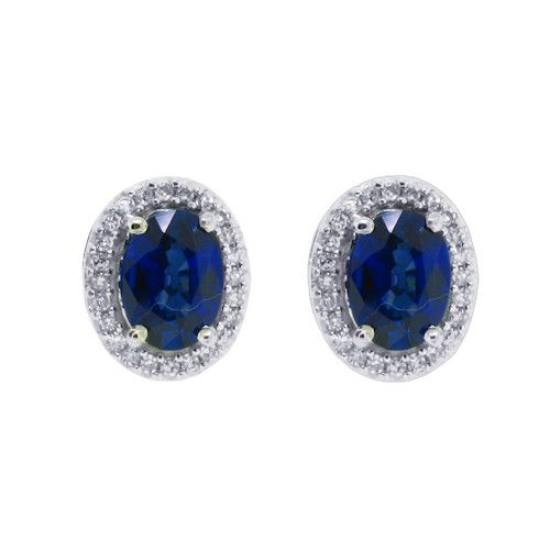 Genuine Sapphire Diamond Halo Earrings in 10Kt White Gold